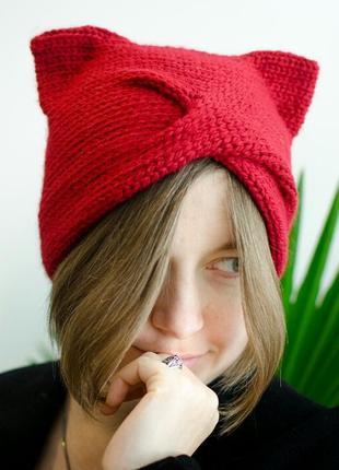 Червона шапка чалма з вушками 20% шерсть
