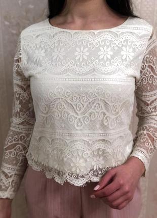 Идеальная кофточка, французское кружево , блуза