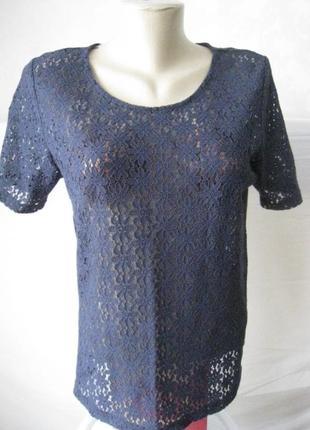 Блуза блузка,кофточка,футболка, синяя кружевная