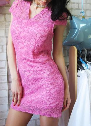 Платье розовое кружевное , платье гипюровое , платье-бюстье