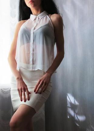 Блуза прозрачная летняя , топ невесомый базовый