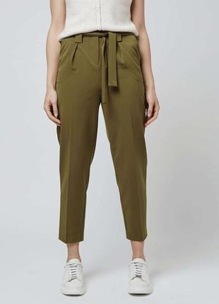 Классические-повседневные штаны цвета хаки от topshop с поясом на высокой посадке, брюки