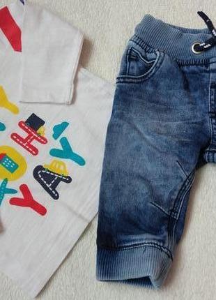 Комплект 2в1 набор реглан лонгслив и джинсы на 0-6 месяцев
