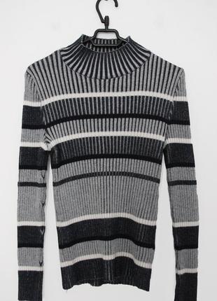 Идеальный серый теплый гольф в рубчик от atm, полосатый гольф, водолазка, свитер