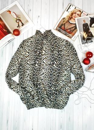 Блуза леопард энимал принт нарядная вечерняя новый год шифон
