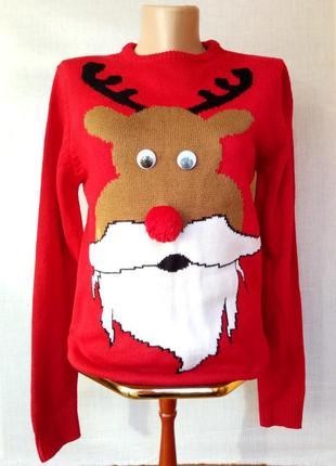 Крутой новогодний нарядный свитер с оленем merry christmas