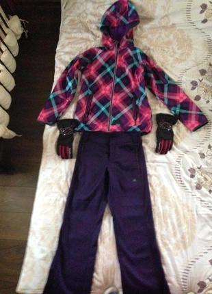 Лыжный костюм с перчатками  б/у