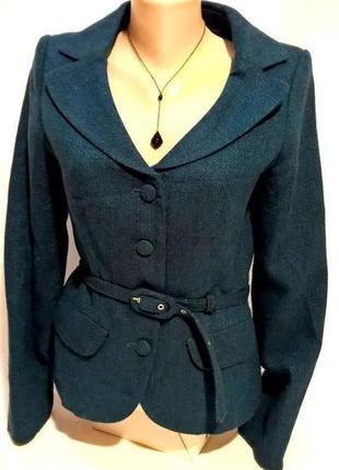 Элегантный жакет пиджак с поясом акрил/шерсть