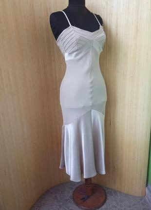 Пудровое  платье mango в бельевом стиле  xs/s
