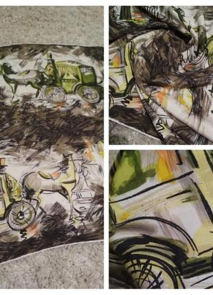 Шикарный шелковый платок, ручная роспись, 79*75