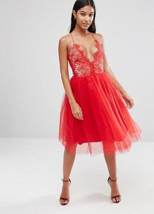 Пышное красное фатиновое платье rare london