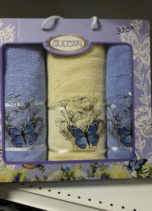 Подарочный набор из 3х плотных полотенец турция 100% хлопок ае  cotton