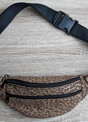 Бананка натуральная кожа, стильная сумка на пояс тигровый мягкий