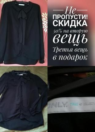 Черная блуза блузка 100% вискоза с бантом с бантиком новый год 2019 скидки акции