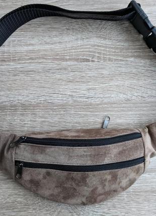 Бананка натуральная кожа, стильная сумка на пояс светлая кремовая замшевая