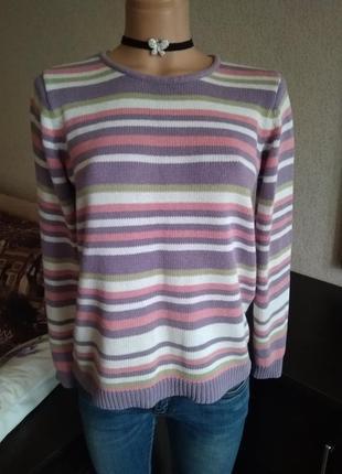Полосатый яркий разноцветный свитер размер s/m