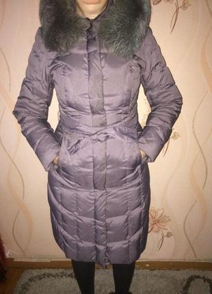 Зимнее пальто с мехом песца