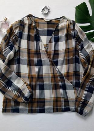 Блуза с запахом, блуза в клетку, очень красивой расцветки