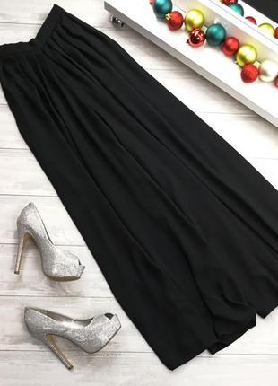 Шифоновые брюки-палаццо в194541 hermann lange размер 40 (m/l) черные широкие шаровары