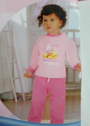 Чудесный теплый костюм пижама для девочки винни пух от disney р. 74-80, 86-92