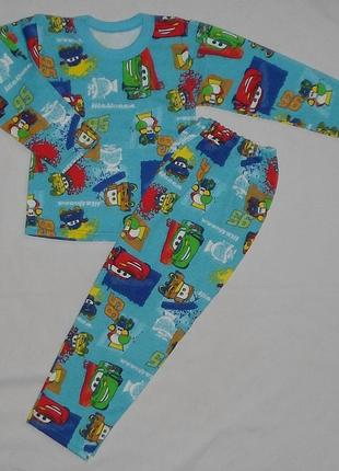 Детская пижама с тачками начес1