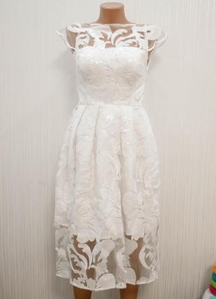 Платье на выпускной 2019, свадебное платье кружевное с пайетками (белое\ не венчанное)