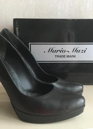 Черные туфли из натуральной кожи mario muzi
