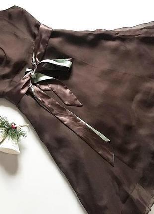 Коричневое шифоновое платье john lewis  приятная ткань  р 12(l)