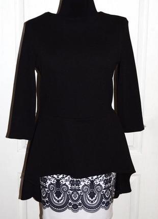 Черная нарядная кофта блуза с баской как новая р.m