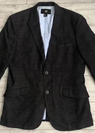 Піджак\блейзер h&m slim fit coton-linen casual blazer