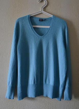 Голубой джемпер свитер p.l-xl 55%шёлк 45%кашемир adagio