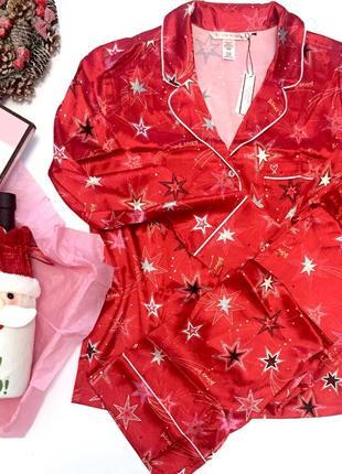 Сатиновая атласная пижама пижамка одежда для сна и дома виктория сикрет оригинал