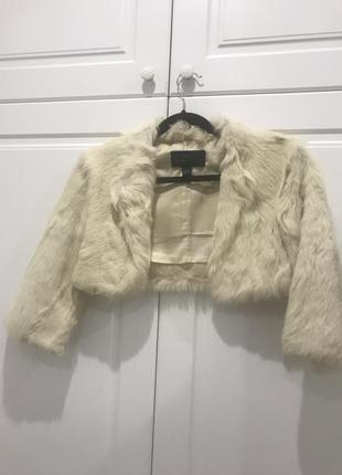 Mango меховая натуральная горжетка болеро шубка пиджак белая модная стильная