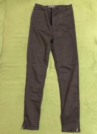 Новые женские зауженные темно-зеленые брюки с высокой талией