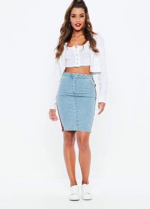 Джинсовая юбка с высокой талией от missguided