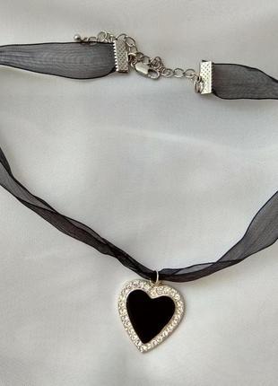 Винтажный кулон,подвеска сердце с черной эмалью и кристалами сваровски