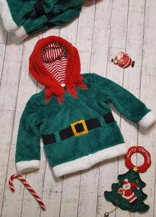 Новогодний свитшот свитер кофта костюм гнома деда мороза санта клауса 🎅 от 9 мес. до 2 лет