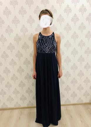Шикарное вечернее, праздничное синие платье в пол с паетками, для выпускного