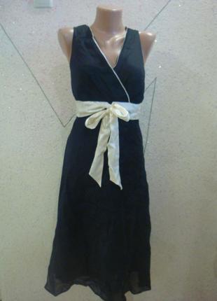 Лен шелк новое платье с бантом и биркой. размер 14-18