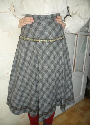 Шерстяная юбка в клетку