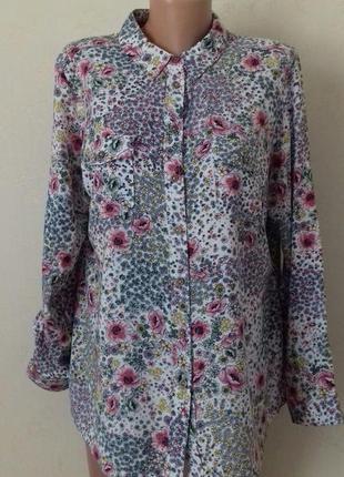Натуральная блуза- рубашка с принтом большого размера