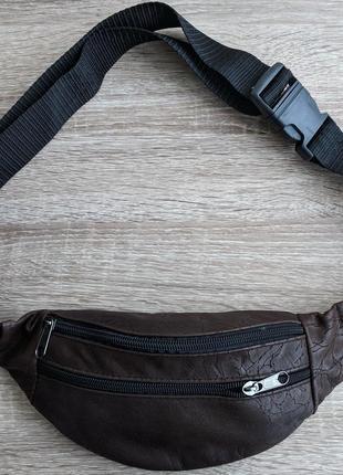 Бананка натуральная кожа, стильная сумка на пояс коричневая с крутым узором