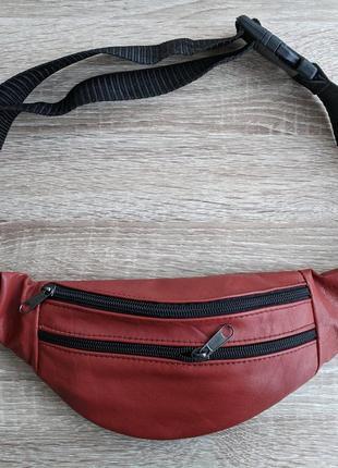 Бананка натуральная кожа, стильная сумка на пояс красный морковный цвет