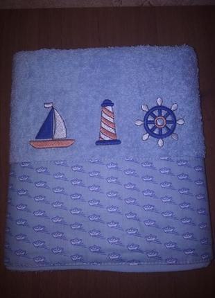 Полотенце махровое детское с отделкой тм ярослав голубое кораблики