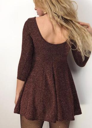 Платье / люрекс / коричневое / золото