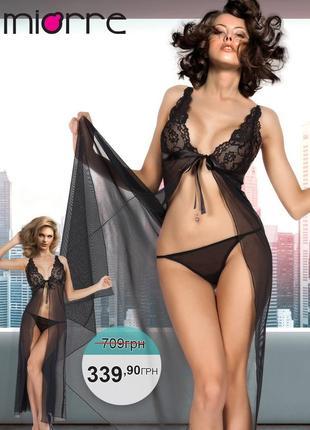 Miorre babydoll комплект: прозрачная сорочка и трусики-стринги