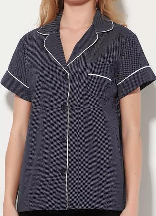 Качественная блузка, рубашка в мелкий горошек oysho. 100% хлопок.