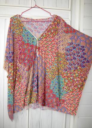 Кофта, блуза со змейкой, футболка, накидка с абстакцией, разноцветная (большой размер)