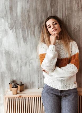 Стильный тёплый свитер из шерсти мериноса♥