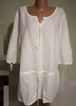 Рубашка, блуза белого цвета. бренд casablanca. лен  котон. размер укр.54-56